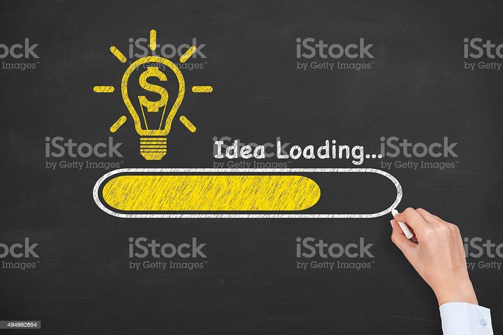 Finance Ideas Concept Loading on Blackboard stock photo