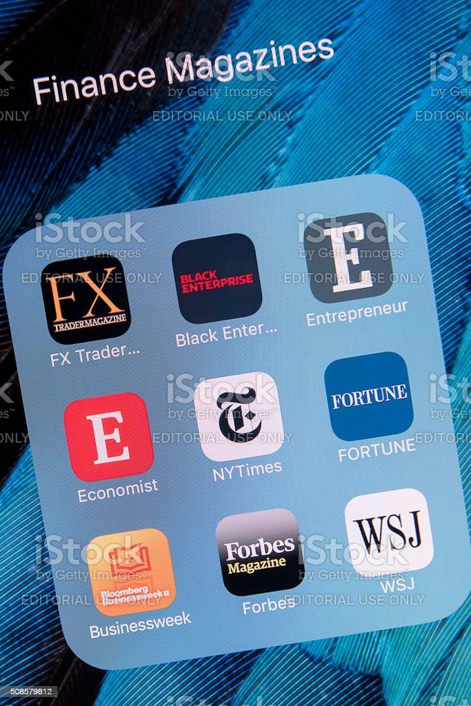 Finance Magazines  apps on Apple iPhone 6S Plus Screen stock photo