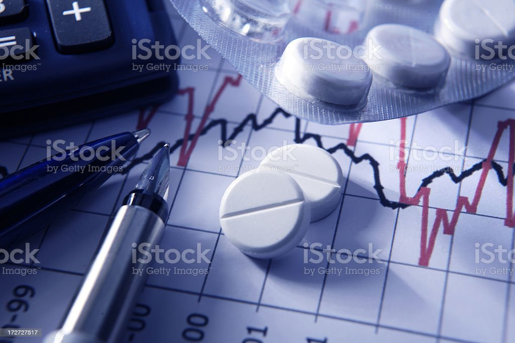 Finance: Painkillers on Stock Chart stock photo