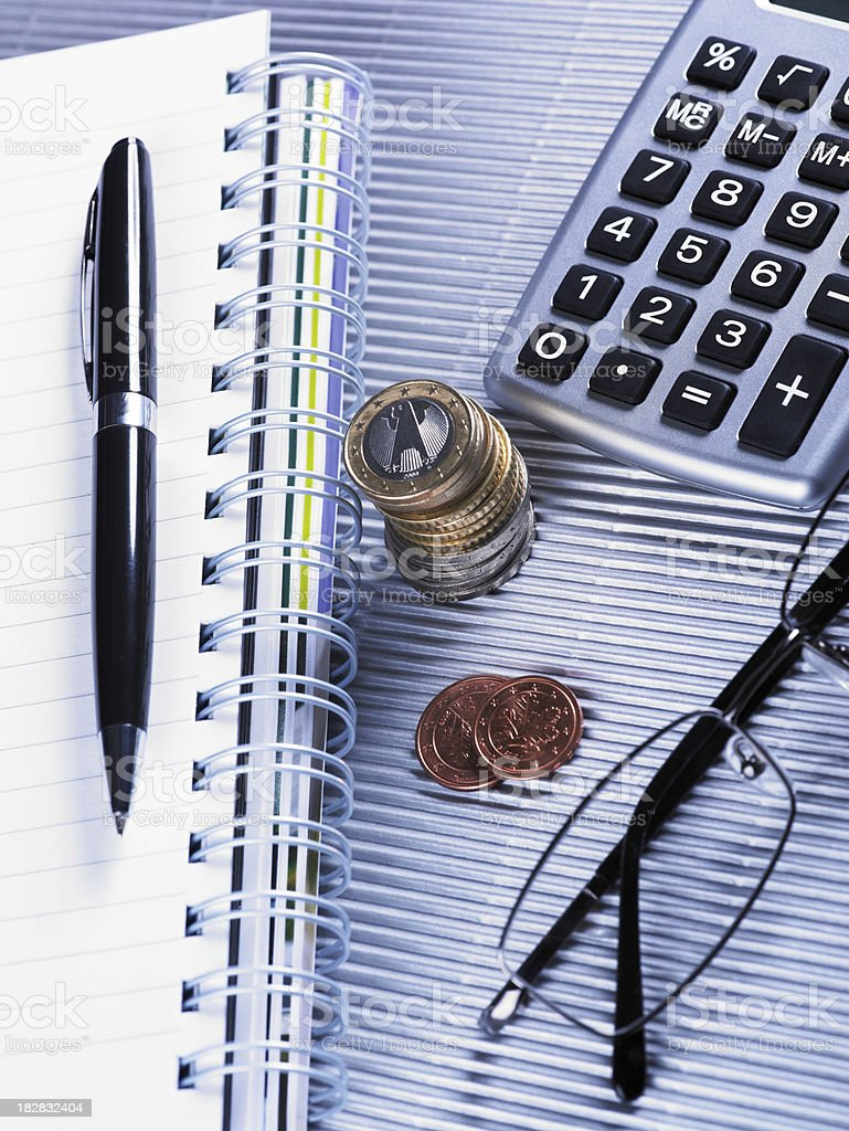 Finance  with Glasses Coins And Calculator royalty-free stock photo