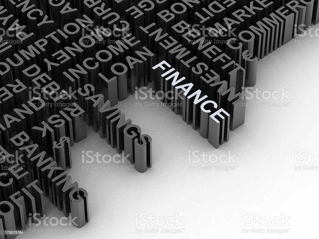 Finance word outlined from set of words stock photo