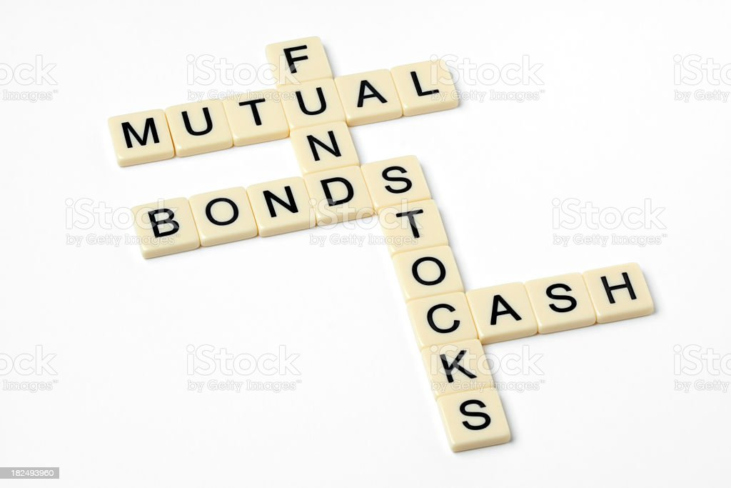 Finance-related words in word block format stock photo