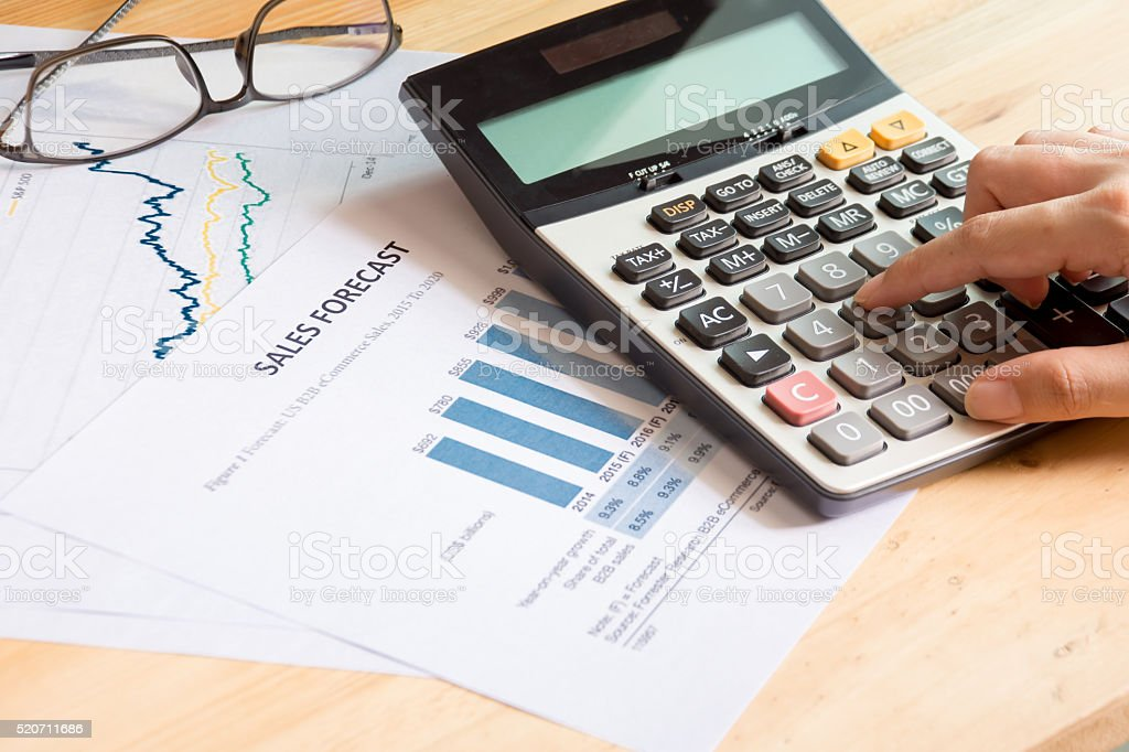 Financial accounting of sales forecast graphs analysis stock photo