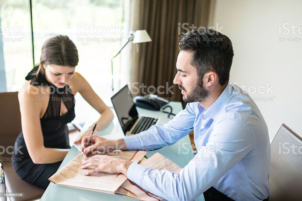 financial advisor on the office stock photo