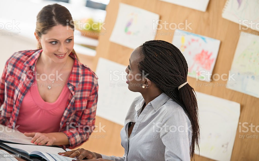 Financial Advisor Talking To Woman stock photo