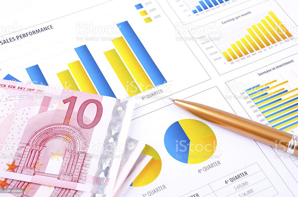 Financial Analysis with charts and european currency royalty-free stock photo