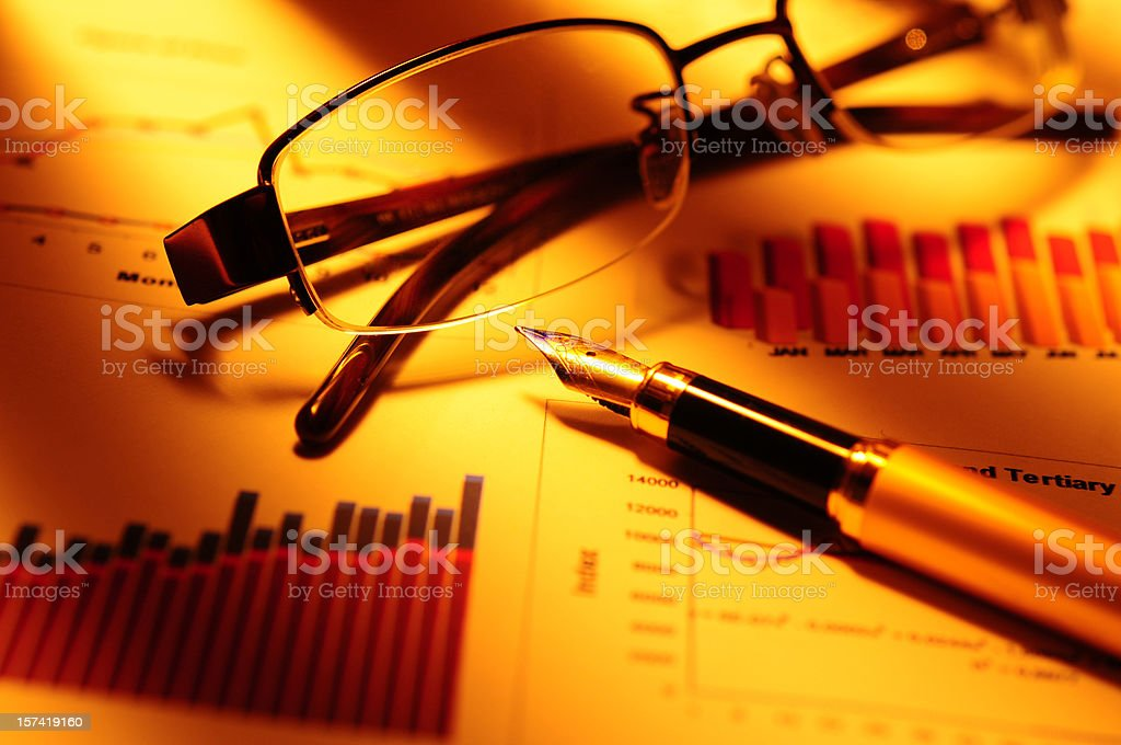 Financial Analyzing with Yellow Lights stock photo