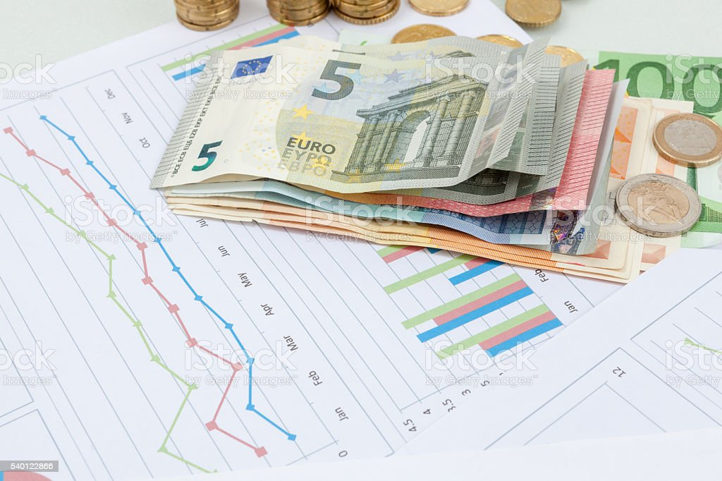 Financial and business chart and graphs stock photo