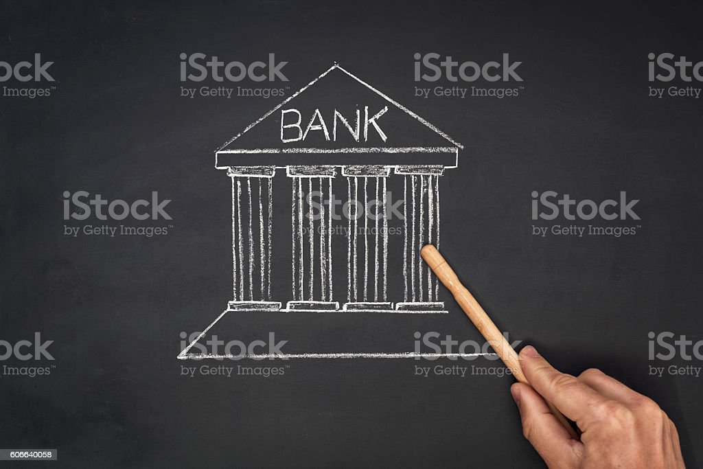financial bank drawing on blackboard stock photo