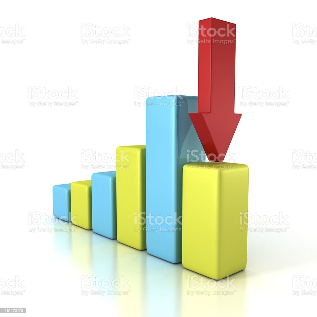 Financial bar diagram with red downward arrow stock photo