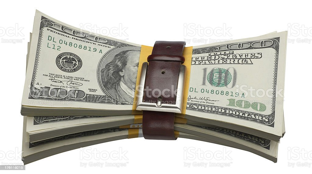 Financial Belt Tightening royalty-free stock photo