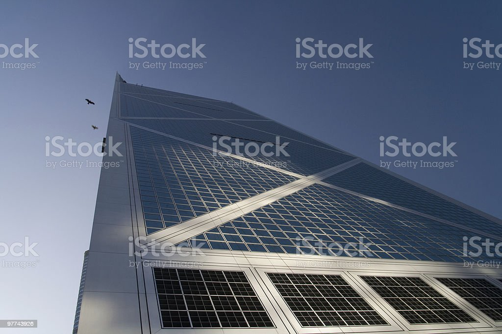 Financial building with dramatic lighting stock photo