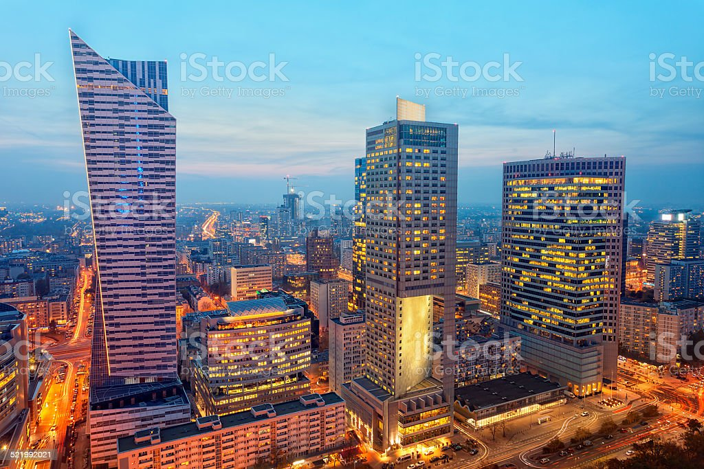 Financial Buildings Illuminated at Twilight, Warsaw, Poland stock photo