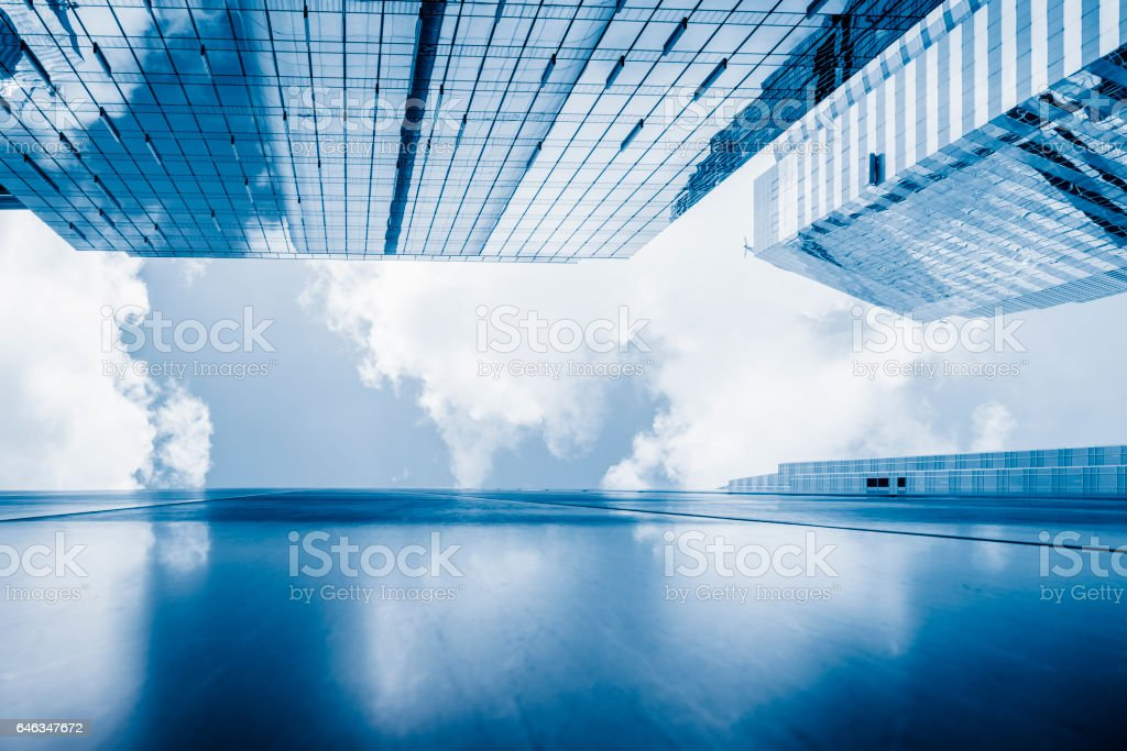 financial buildings in Hong Kong central stock photo