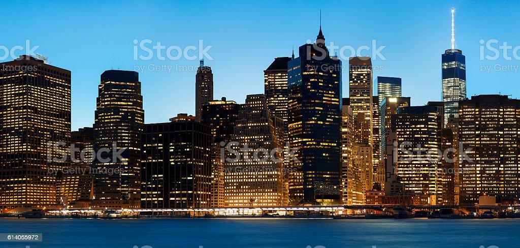 Financial Buildings, Midtown Manhattan at Dusk, New York City stock photo