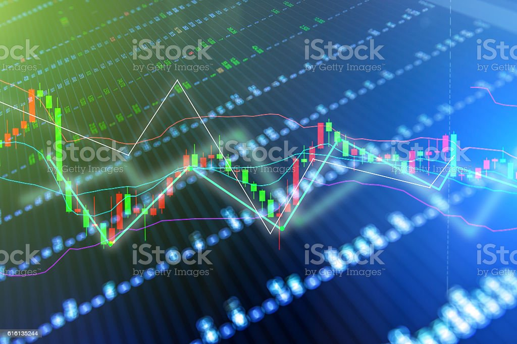 financial business concept with Candle stick graph stock photo