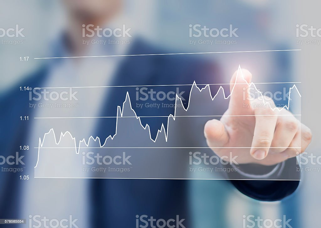 Financial business graph on computer interface stock photo