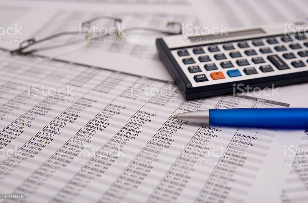 financial caculator stock photo