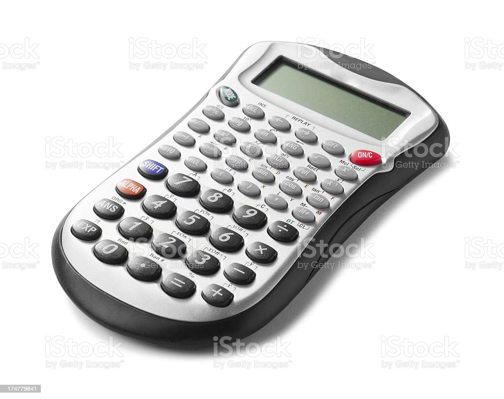 Financial calculator isolated on white background royalty-free stock photo