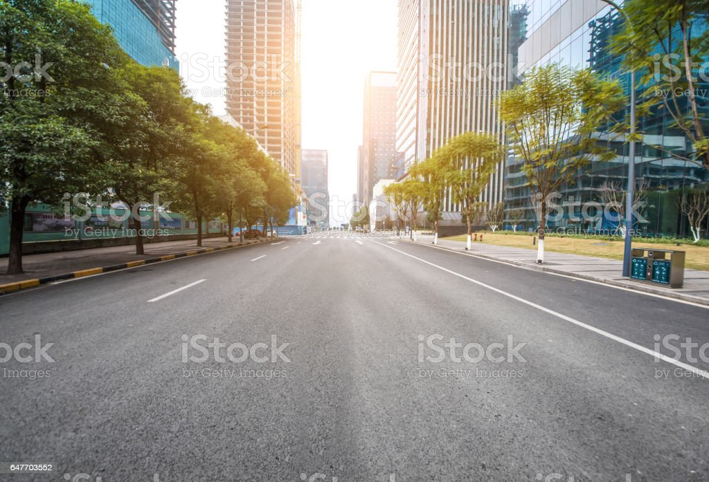 Financial center beside the road stock photo