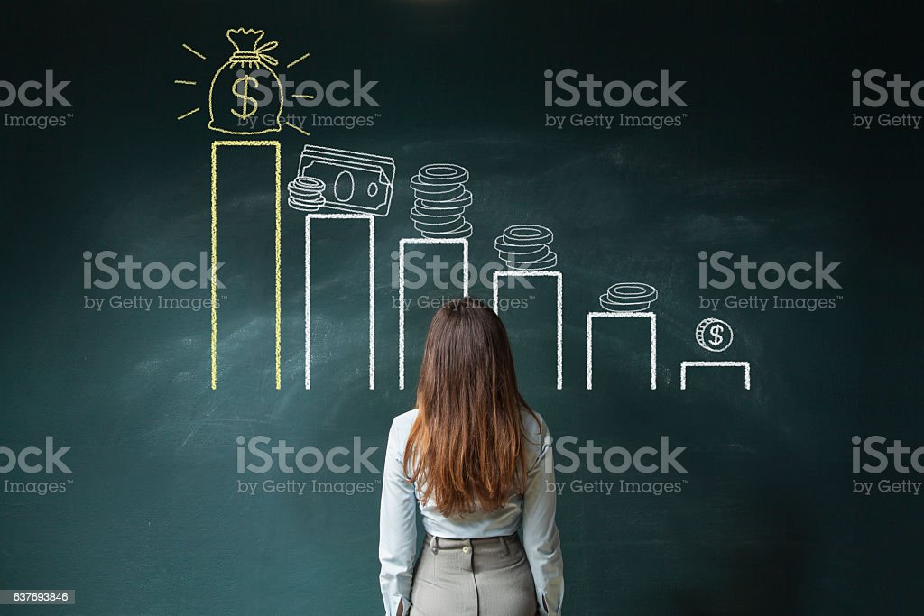 Financial chart on chalkboard stock photo