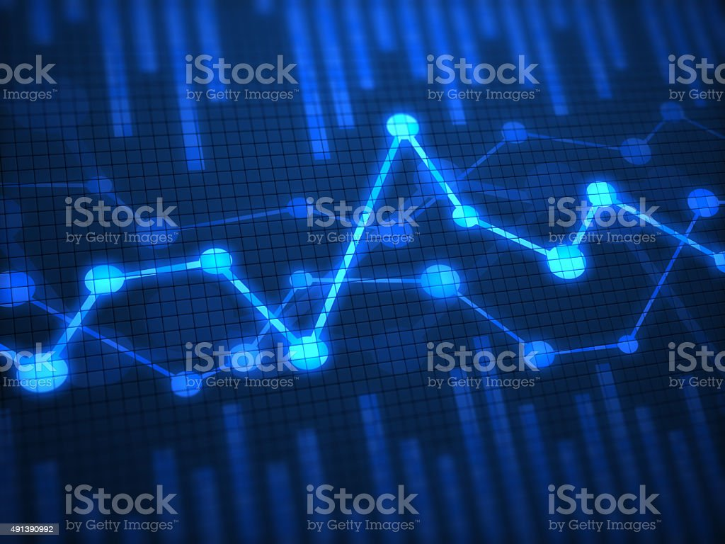 Financial chart on digital display stock photo