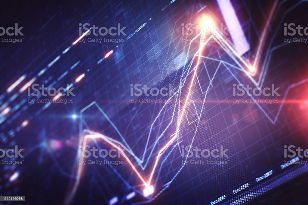 Financial chart on LCD display stock photo