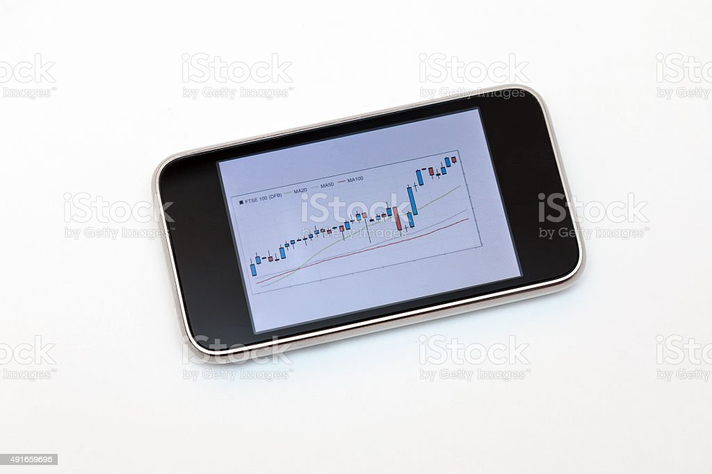 Financial Chart On Mobile Phone Screen stock photo
