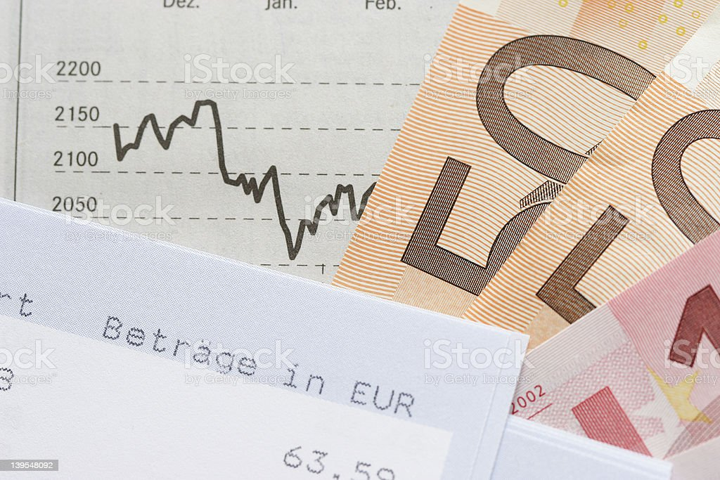 Financial chart with cash royalty-free stock photo