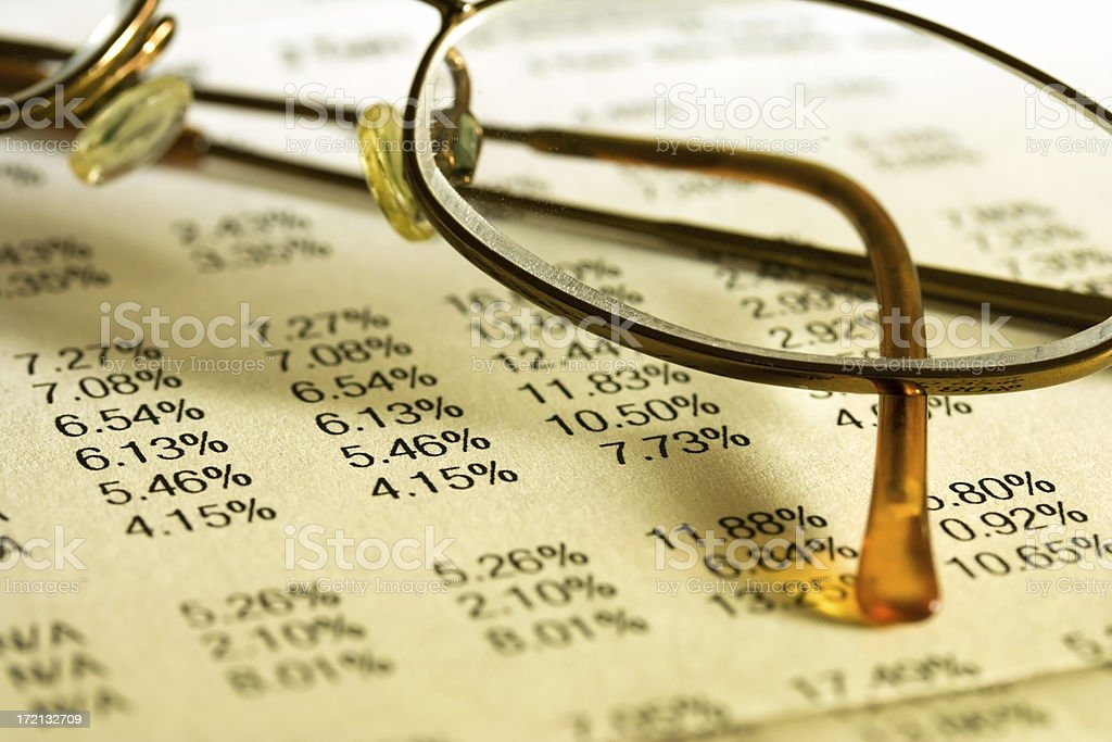 Financial Chart with Glasses stock photo