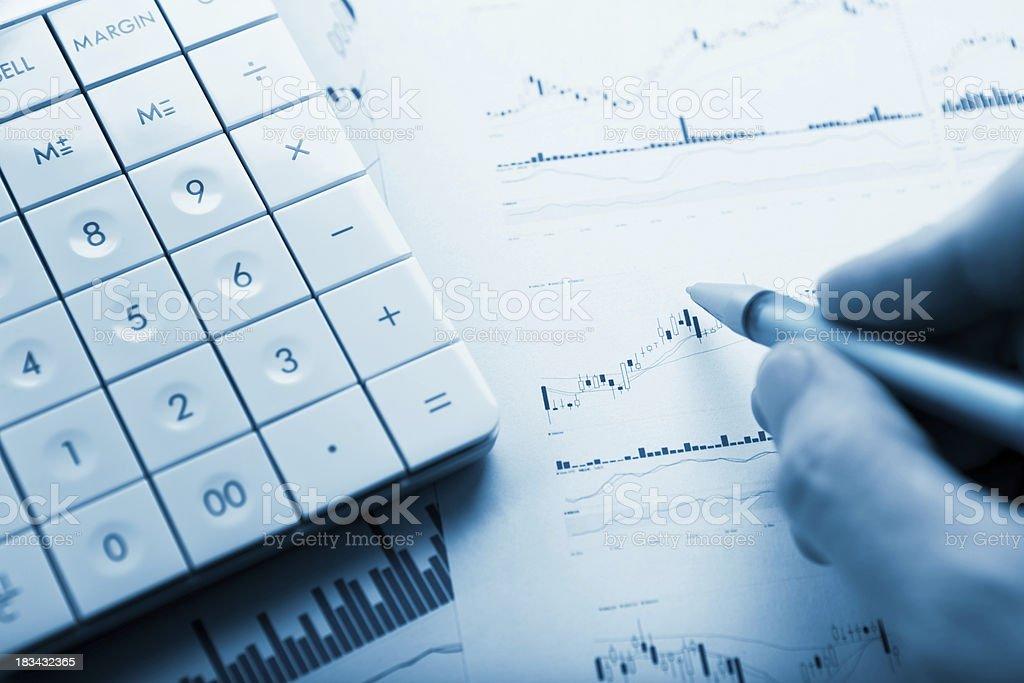 Financial charts analysis royalty-free stock photo