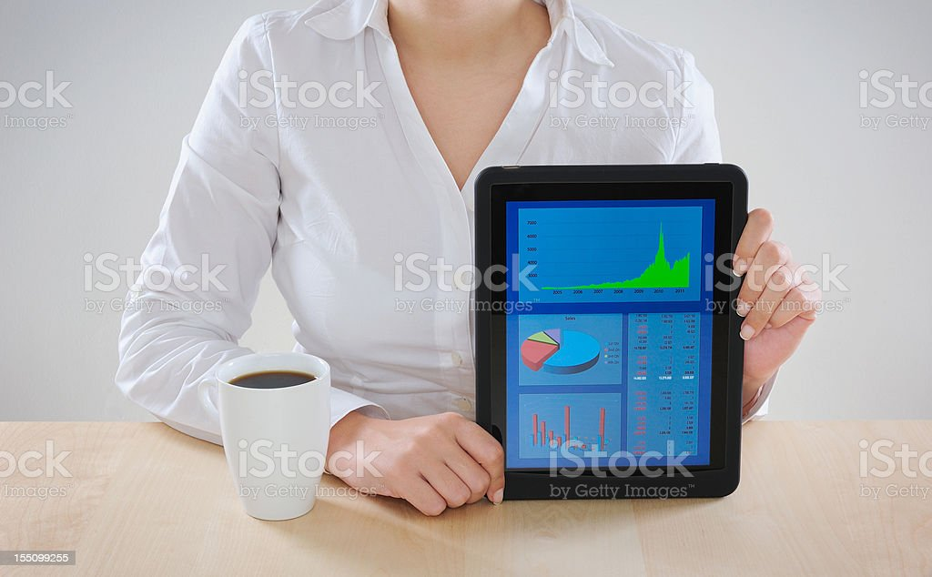 Financial charts on digital tablet royalty-free stock photo