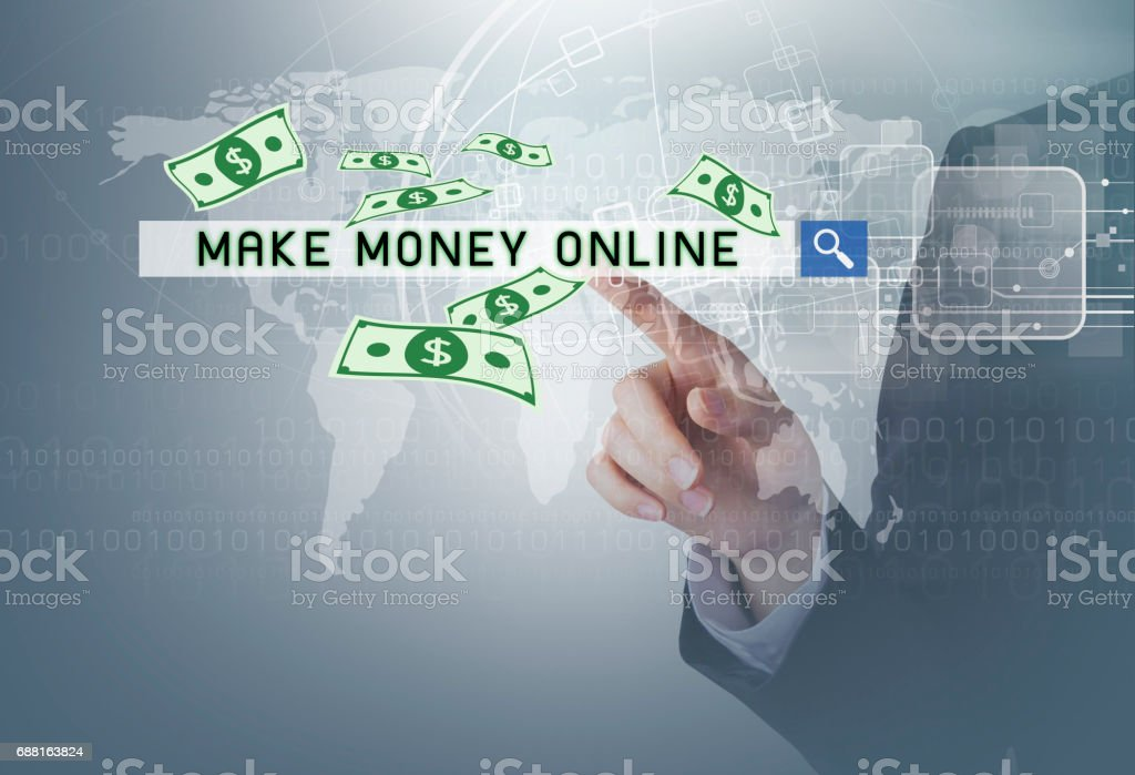 Financial concept of business woman hand touching make money online at search bar with dollar and technology design stock photo