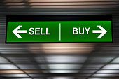 Financial concept. Sell and Buy Arrows sign