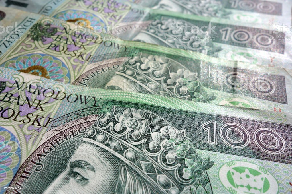 Financial concept with polish zloty banknotes stock photo