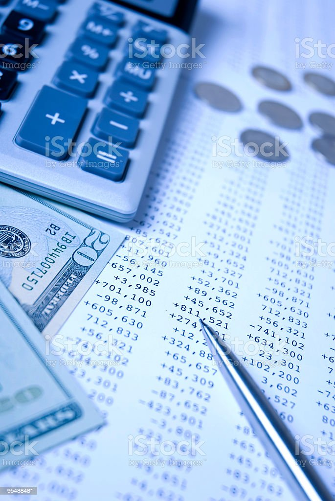 Financial control elements in blue filter stock photo