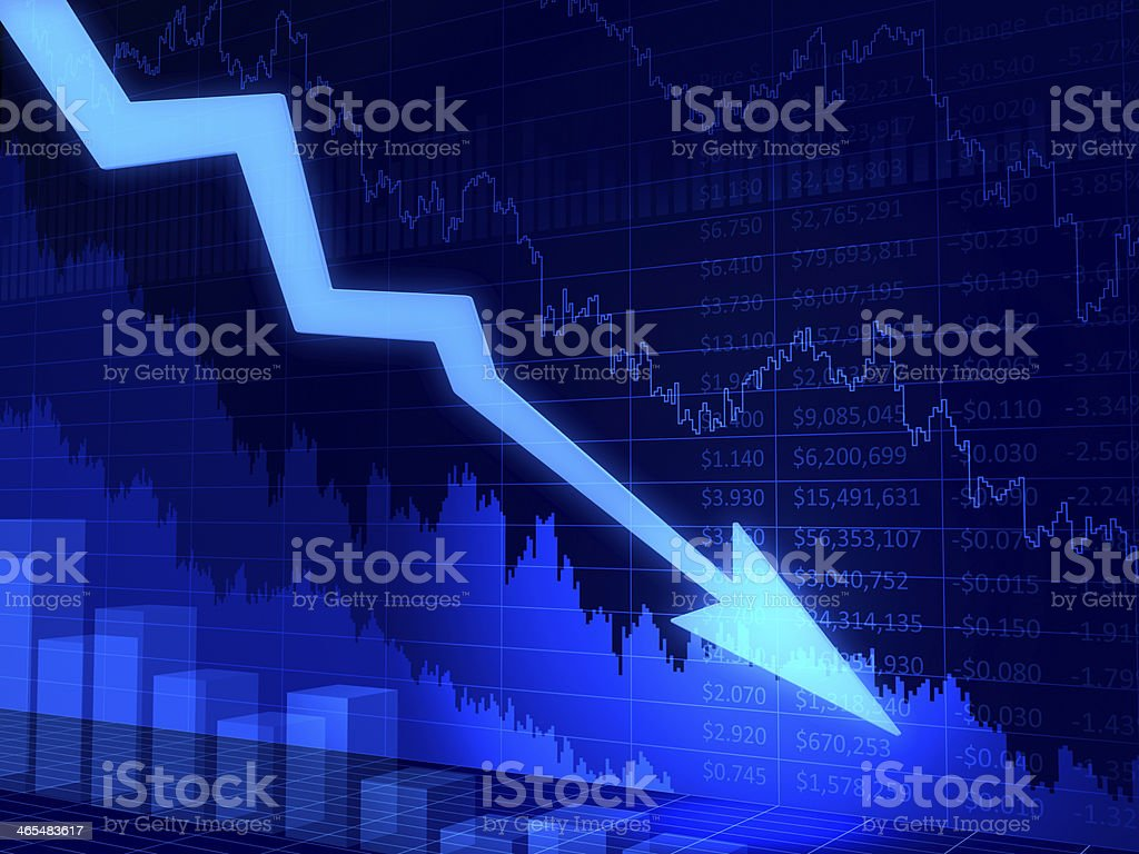 Financial crisis chart. 3D abstract diagram with arrow stock photo
