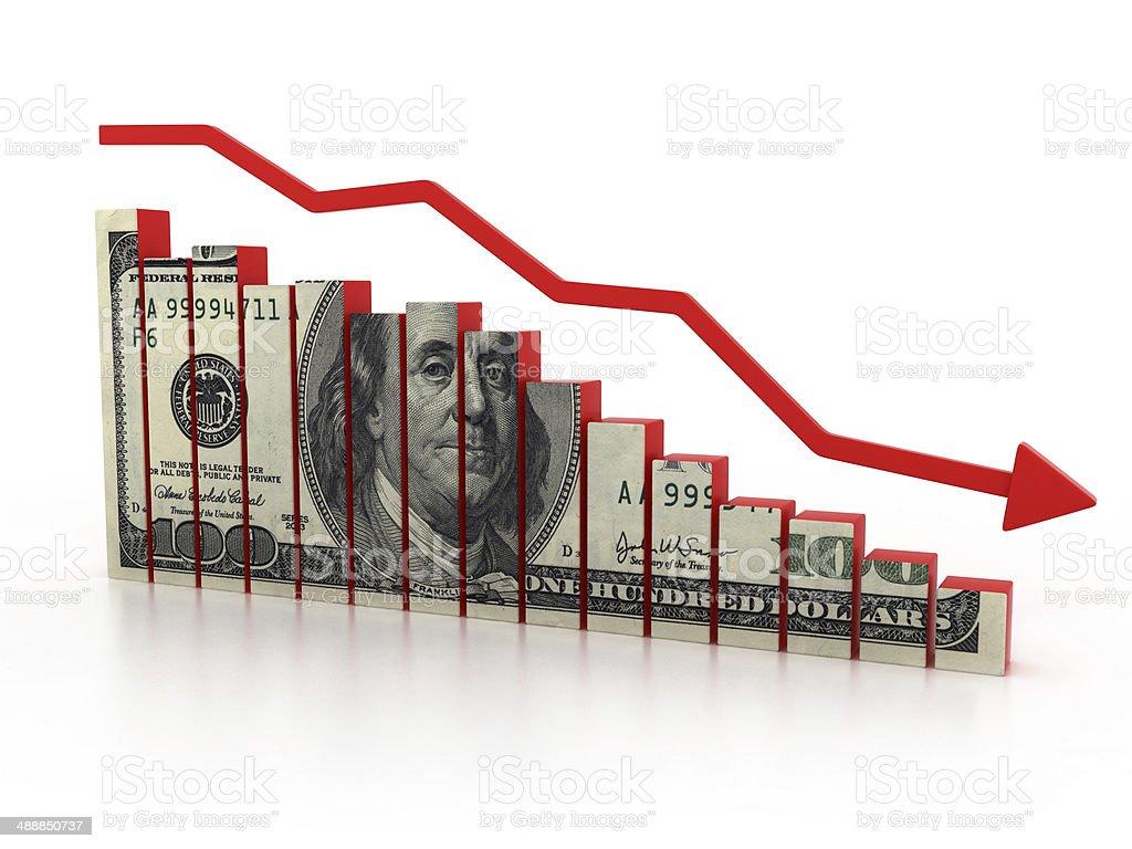 financial crisis, dollar diagram stock photo