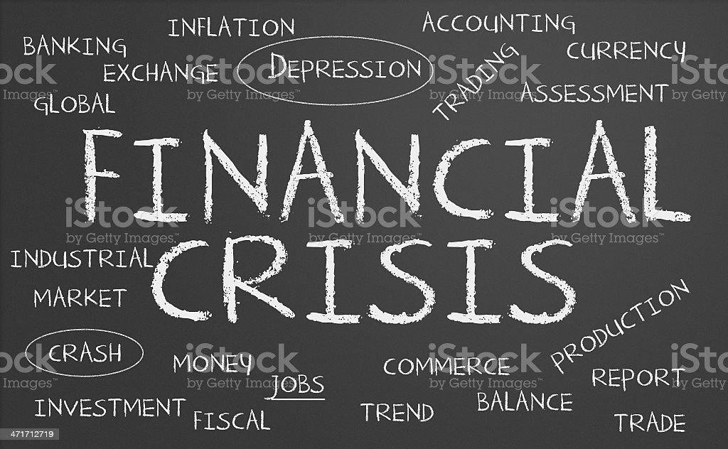 Financial Crisis word cloud stock photo