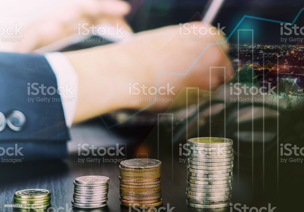 Financial currency and stock exchange growth graph concept stock photo