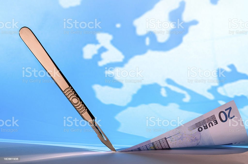 Financial cuts in Europe royalty-free stock photo