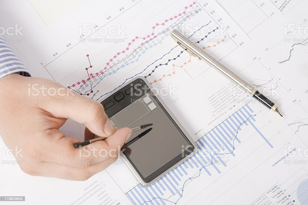 Financial data analysing and calculating royalty-free stock photo