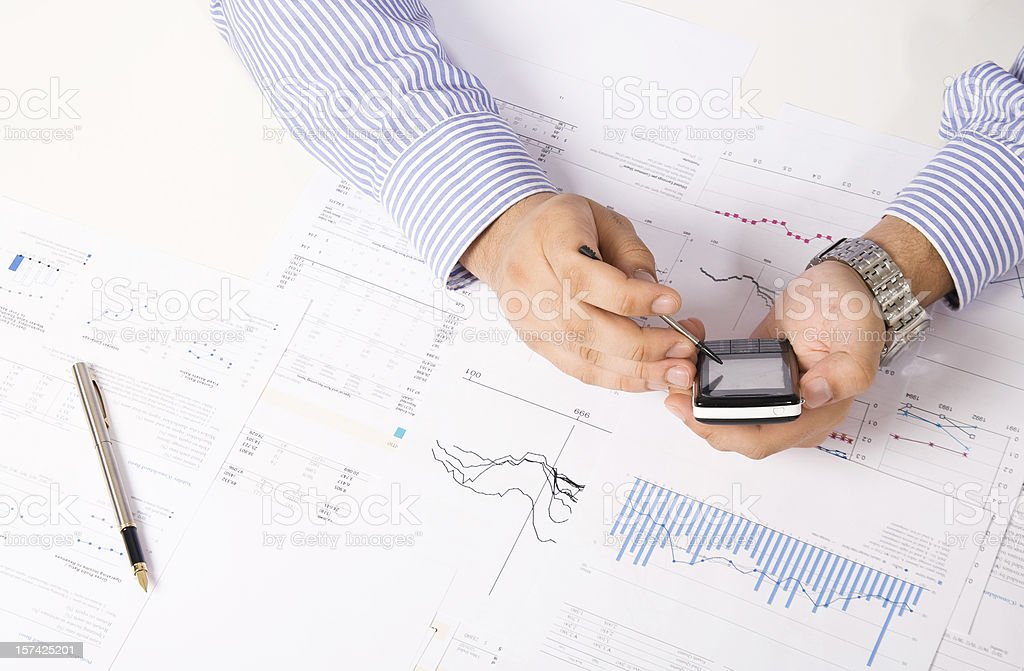 Financial data analyzing and calculating royalty-free stock photo