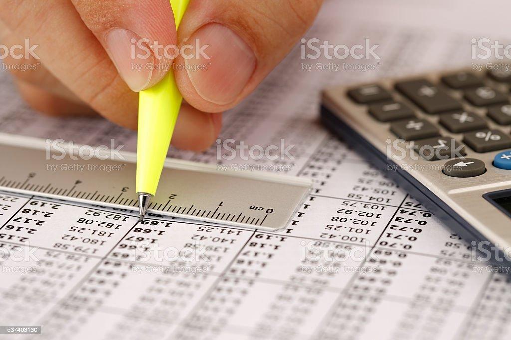 Financial data analyzing stock photo
