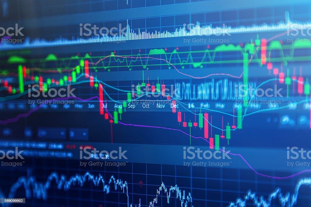 Financial data on a monitor stock photo
