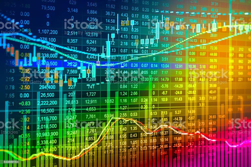 Financial data on a monitor,Stock market data stock photo