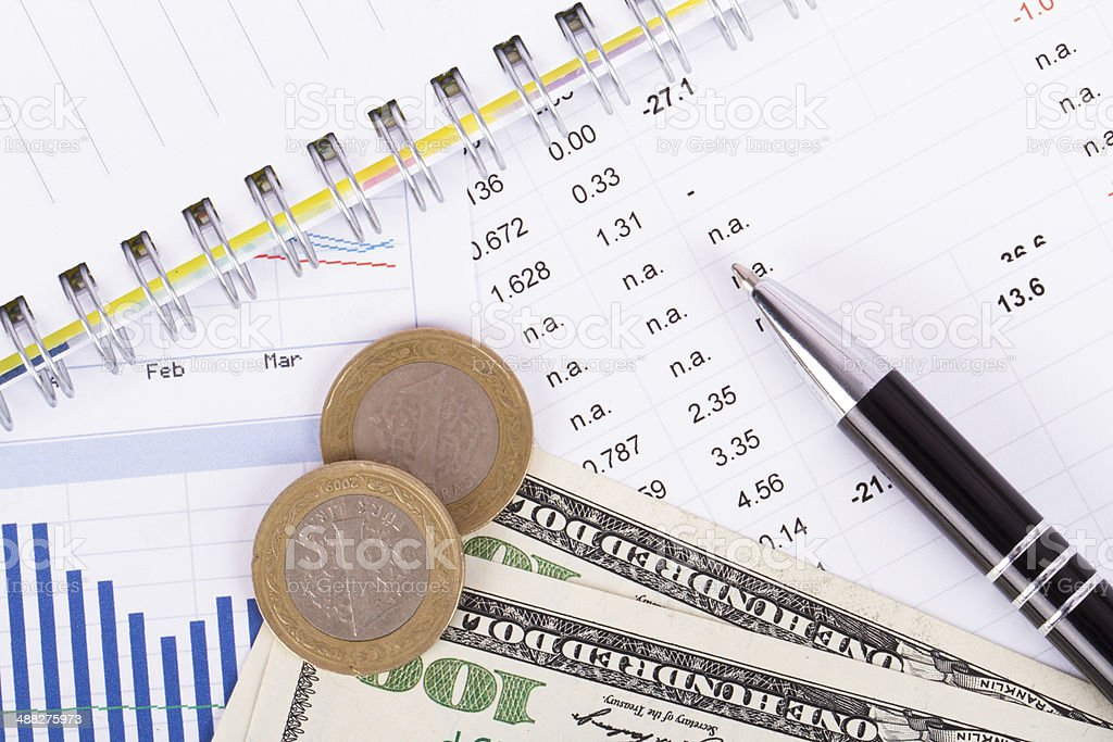 Financial Data Results stock photo