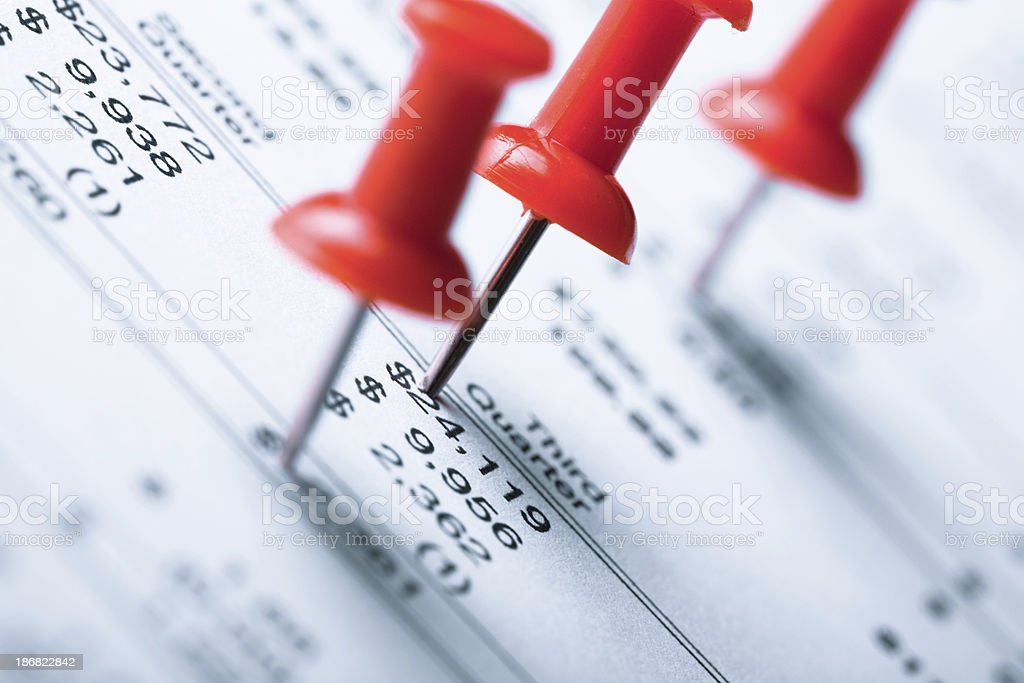 financial data with red pins royalty-free stock photo