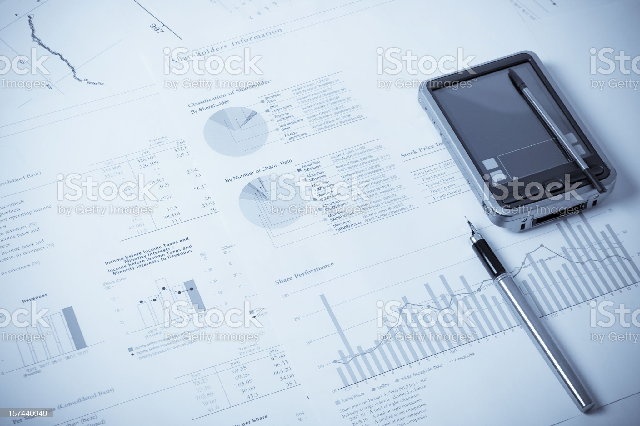 Financial data,graphics  and calculations. Close-up royalty-free stock photo