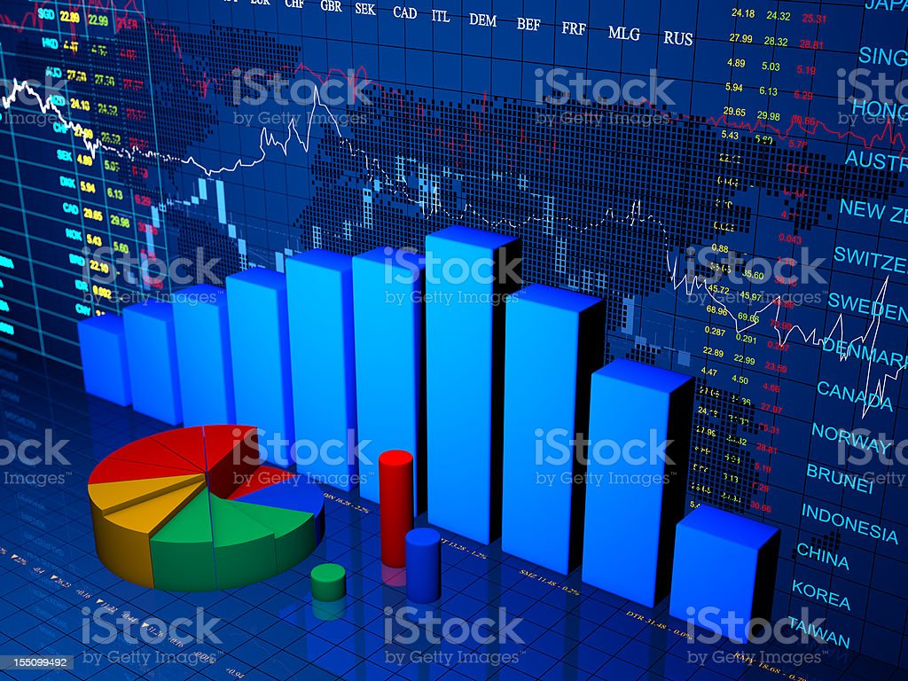 Financial diagram with chart stock photo